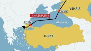 Kartta Turkin ja Venäjän välisestä kaasuputkesta.