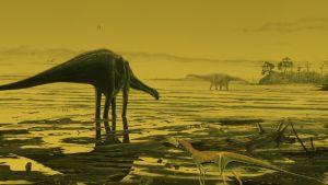 Taiteilijan näkemys Skyen saarella eläneistä sauropodeista.