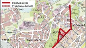 Kartta liikennejärjestelyistä Jyväskylän keskustassa 5.12 - 6.12. 2015