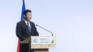 Kiinan presidentti Xi Jinping Pariisin ilmastokokouksessa 30. marraskuuta.