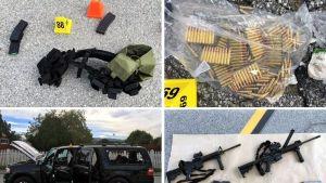 Poliisin julkaisemassa neljän kuvan koosteessa näkyy ampuma-aseita, luoteja ja ampujien käyttämä auto.
