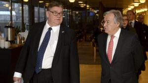Timo Soini ja Antonio Guterres.