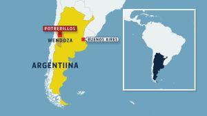 Kartta Argentiinasta.