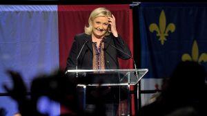 Kansallaisen rintaman Marine Le Pen puhui kannattajilleen 13. joulukuuta.
