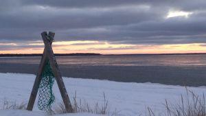Ranta talvella. Ohut lumipeite hiekkarannalla. Meri vasta jäätymässä.