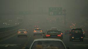Ilmansaasteiden sumentama näkymä Pekingissä 1. joulukuuta 2015.