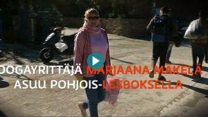 Joogayrittäjä Marjaana Mäkelä asuu puolet vuodesta Pohjois-Lesboksella, jonne sadattuhannet pakolaiset ovat rantautuneet tänä vuonna.
