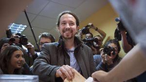 Podemosin puheenjohtaja Pablo Iglesias
