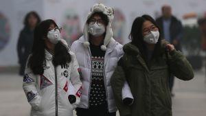 Kolme ihmistä hengitysuojaimet kasvoillaan.