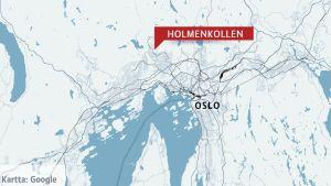 Oslon kartta, jossa merkitty Holmenkollen.