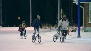 Turvapaikanhakijoita saapumassa polkupyörillä Raja-Joosepin rajanylityspaikalle Venäjän puolelta aiemmin tänä vuonna (2015).