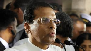 Sri Lankan presidentti puhuu kansalleen presidentiksi valinnan jälkeen 9. tammikuuta 2015.
