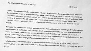 Kirje Imatran kaupunginjohtajalle.