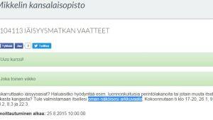 Mikkelin kansalaisopisto tarjoo arkkuvaatekurssia.