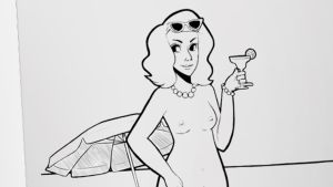 Piirretty yläosaton nainen pitelee drinkkiä