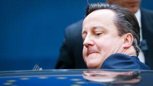 Britannian pääministeri David Cameron on istuutumassa autoon. Cameronista näkyvät auton takaa pää ja vasen olkapää. Hänellä on sininen puku. Cameronilla on kasvoillaan hieman vaikea ilme, autoon ahtautuminen on hieman hankalaa. Auton kattoon heijastuvat jostain EU:n sinisen lipun keltaiset tähdet. Taustalla seisoo mies tummassa puvussa, mahdollisesti turvamies. Tausta on tummansininen.