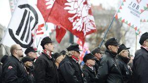 Jobbik_puolueen kannattajia marssilla Pudapestissa Unkarissa.