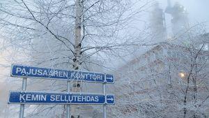 Opastekyltit Metsä Groupin Kemin tehtaille.