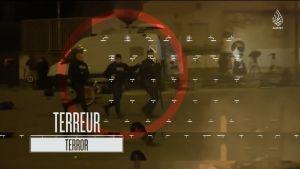 Kuvakaappaus äärijärjestö Isisin julkaisemalta propagandavideolta. Isisin mukaan videolla esiintyy yhdeksän Pariisin terrori-iskuihin osallistunutta miestä.
