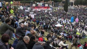 Suuri väkijoukko on kerääntynyt mielenosoitukseen.