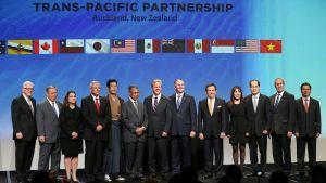 Uuden-Seelannin pääministeri John Key (6. oikealta) ja 12 valtion edustajat yhteiskuvassa vapaakauppa- ja investointisopimuksen allekirjoituksen jälkeen.