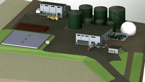 Havainnekuva Riihimäen biokaasulaitoksesta