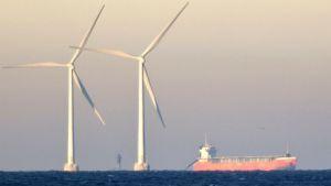 Tuulivoimaloita merellä.