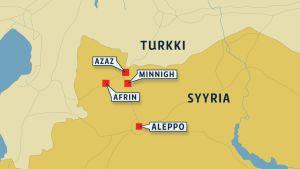 Kartta Syyrian ja Turkin raja-alueesta.