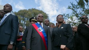 Haitin väliaikainen presidentti Jocelerme Privert virkaanastujaisissaan pääkaupunki Port-au-Princessa sunnuntaina.