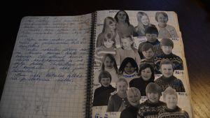 Päivänkirjan sivu kuvineen.