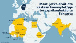 Kartalla maat jotka, eivät ota vastaan turvapaikanhakijoita Saksasta
