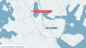 Kartassa näkyy Hesperian puiston sijainti lähellä Helsingin keskusta-alueella.