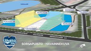 Havainnekuva Tampereen Sorsapuiston ulkojäästä joulukuun liigaotteluita varten 2016