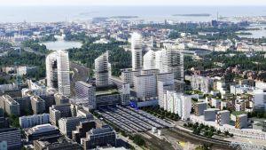 havainnekuva Keski-Pasilan uusista asunnoita ratapihan paikalle