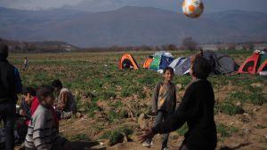 Pakolaislapsia Kreikan ja Makedonian rajalla.
