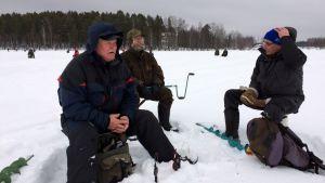 Pertti Melto (vas.), Veikko Timonen ja Esko Seppänen matkasivat SM-pilkkiin Imatralta.