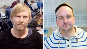 Opettajat Pekka Peura ja Markus Humaloja.
