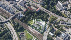 Havainnekuva Laukaan avovankilan ja Jyväskylän yhdyskuntaseuraamustoimiston uusista tiloista