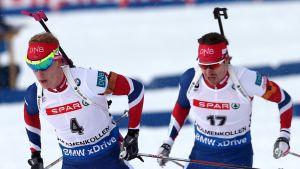 Johannes Thingnes Bö (vas.) ja Emil Hegle Svendsen