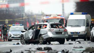 Auto räjähti Charlottenburgin kaupunginosassa.