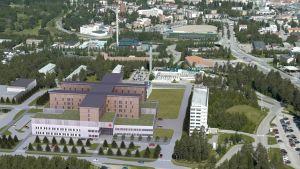 Havainnekuva Kainuun uudesta sairaalasta.