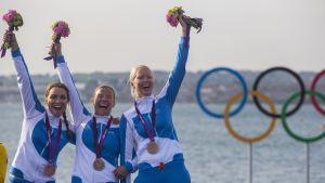Silja Lehtinen, Silja Kanerva ja Mikaela Wulff Lontoon olympialaiset.