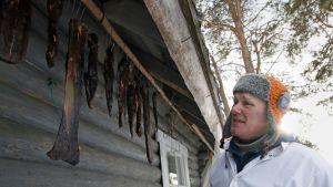 Veikko Heiskari riiputtaa poronlihaa säiden mukaan kahdesta kolmeen viikkoa, Rovaniemi, Tapionkylä