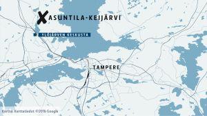 Kartta Asuntila-Keijärvi -alueesta Ylöjärvellä.