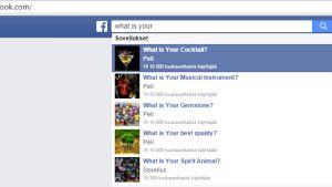 Kuvakaappaus Facebookista, jossa näkyy lista erilaisia testejä.