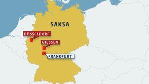 Kartta Saksasta johon merkattu Düsseldorf ja Giessen.