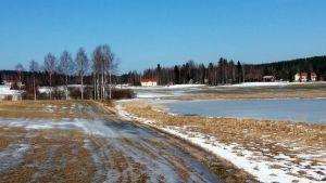 Vähän lumen ja jään peitossa oleva peltomaisema keväällä.