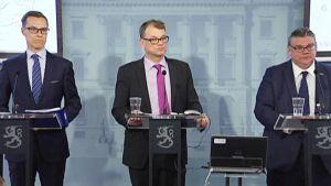 Alexander Stubb, Juha Sipilä ja Timo Soini