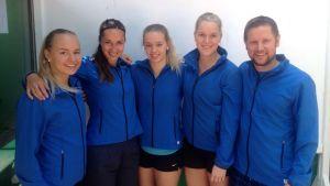 Suomen joukkue Fed Cupiin: Pelaajat: Mia Eklund, Ella Leivo, Milka-Emilia Pasanen ja Monica Malinen. Kapteeni: Tero Vilen