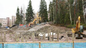 Rakennustyömaa Espoossa.